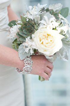 Pretty Green & White bouquet!  Garden rose, succulent, dusty miller, nerine lily bridal bouquet