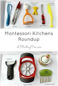 Montessori Kitchens Roundup - A whole list of Montessori Kitchen Setup links from around the blogosphere! {PlantingPeas.com}