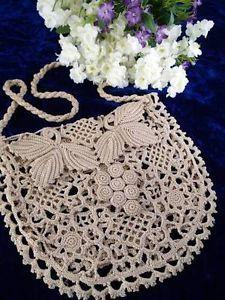 "Antique Irish Crochet Lace Bag Purse Victorian Bridal Wedding 8"" x 9""   Vintageblessings"