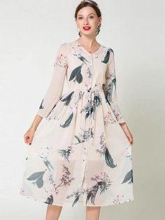 Fashion Flare Sleeve Print Chiffon Sashes O-Neck Skater Dress Steps Dresses, Women's Dresses, Fashion Dresses, Bodycon Dress With Sleeves, Print Chiffon, Stylish Dresses, Skater Dress, Dress Patterns, Silk Dress