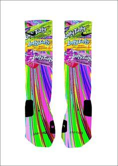 Custom Laffy Taffy Candy Socks Custom Nike Elite Socks Or Adidas Socks Funky Socks, Crazy Socks, My Socks, Cool Socks, Awesome Socks, Nike Elite Socks, Nike Socks, Sport Socks, Nike Basketball Socks