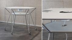 Der Table DT Line T6 wurde erstmals auf der Orgatec 2014 vorgestellt. Unterhalb des Tisches eine Ablagefläche. Zudem gibt es bei diesem Stehtisch eine mittig eingelassene Technikbox.