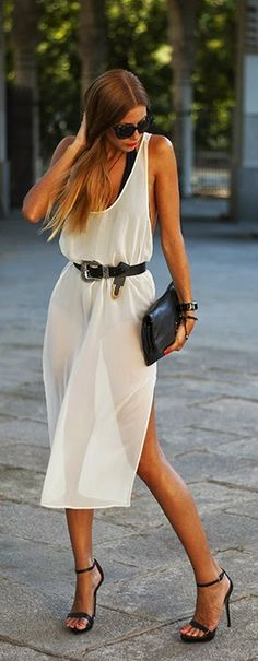 Stlye Me Hip: White Sexy Mini Dress with Black High Heels | Chic...