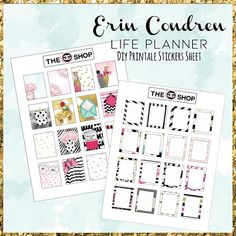 ECLP Kate Spade full boxes 8,5x11 printable stickers diy planner stickers PDF + JPG