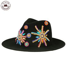 5d048484e55c8 Aliexpress.com   Buy Ulgen Designed vintage fedora hats with Jewelry  decorated black wool felt panama hat women  HUL158g4500  from Reliable hat  ny suppliers ...
