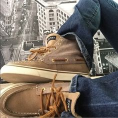 ✨HOST PICK 8/7/16✨ High Top Sperry Top Sider✨ Rare Sperry Top Sider shoes. Two camel colored tones. Pics are recent and accurate from a model shoot I did. Size fits boys, girls and women. Sperry Top-Sider Shoes Sneakers