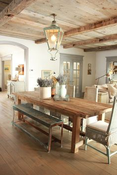 Pretty Vintage Dining Room Design by Desiree Ashworth - now that I'm going for wood-look porcelain tile - I love everything about this room. More