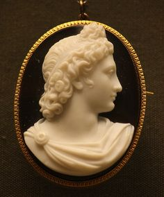 Cameo - Head of Apollo, by Caillot & Peck, Paris. 1849-75 Onyx  @Clare Thompson Museum, London