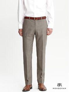 Banana Republic Monogram taupe plaid suit trouser