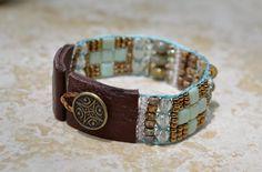 Loomed Beaded Bracelet - Sundance Style Artisan Jewelry - Sea Foam Green, Copper and Earth Tones - Mosaic by SplendorVendor