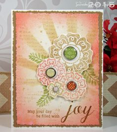 Soft and neutral colored flowers created with Papertrey Ink Filled with Joy clear stamp set  for the Make It Monday #214 challenge. Secretbees Studio: Filled With Joy!