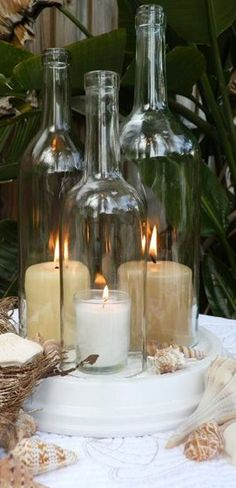 Triple Wine Bottle Candle Holder // Hurricane Lamp ❤︎ #diy #idea