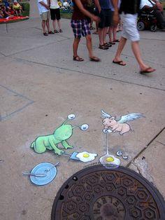 Chalk-drawn Adventures of Sluggo by David Zinn   Bored Panda