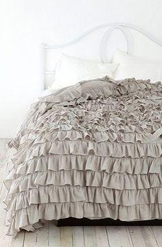 ruffled gray duvet cover