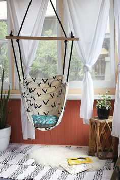 Learn how to DIY this hammock chair and pick your own fabric to match your space. Source: A Beautiful Mess