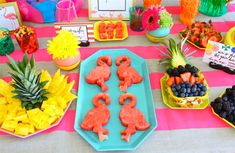 flamingo fruit platter- cut pineapple, use top, or shell out and use bottom