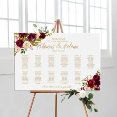 Wedding seating chart gold with flowers, printable personalized floral wedding seating plan, DIGITAL table plan Wedding Reception Seating, Seating Chart Wedding, Wedding Planner Notebook, Table Seating Chart, Welcome To Our Wedding, Flower Invitation, Chalkboard Wedding, Fun Wedding Invitations, Table Plans