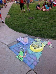 5 minutes well spent! » David Zinn – street art, with cute green creature Sluggo