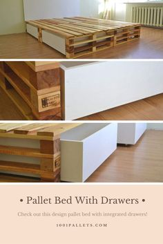 Wooden Pallet Furniture A fantastic pallet bed with drawers made from discarded wooden pallets, I love the design of this bed! - A fantastic pallet bed with drawers made from discarded wooden pallets, I love the design of this bed! Diy Pallet Bed, Wooden Pallet Projects, Wooden Pallet Furniture, Wooden Pallets, Pallet Ideas, Pallet Headboards, Pallet Sofa, Pallet Benches, Pallet Tables