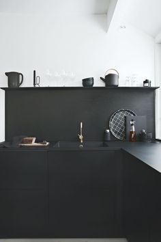 """//Sponsored post  """"Black on black""""  Black kitchens are very hot these days and I´m very happy that we chose the RIVA black oak kitchen from JKE Design when we renovated the kitchen last year. It real"""