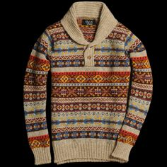 Howlin' by Morrison, a shawl collar version. Fair Isle as it should be. Pair with simple dark jeans and Bean Boots for a simple yet perfect F/W look Radical