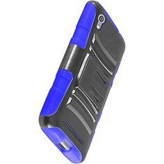 ZTE QUARTZ Z797C,BLUE/BLACK HYBRID CLIP HOLSTER  HARD PLASTIC CASE W/KICKSTAND