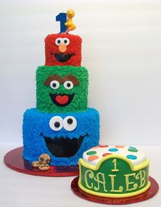 Sesame Street First Birthday - 3 tier buttercream iced cake in a Sesame Street theme