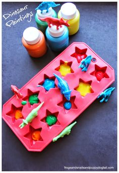 Dinosaur Paintings for kids by FSPDT Dinosaur Activities, Dinosaur Crafts, Toddler Learning Activities, Preschool Activities, Dinosaur Art, Toddler Art, Toddler Crafts, Crafts For Kids, Kindergarten Art