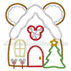 Christmas Mickey Mouse Gingerbread House Machine Applique! $4.00