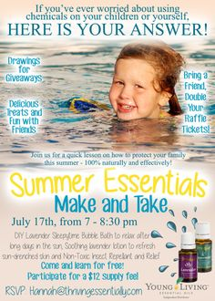 Come join us for a fun filled evening learning about Young Living essential oils and how to use them for you and your family this summer!! We will be having a FREE RAFFLE of some amazing products &…