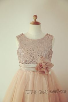 Champagne Gold Silver Sequins Light Gray Tulle Flower Girl Dress Baby Girl Dress with Flower Sash on Etsy, $43.99 @Lauryn Murphy other colors
