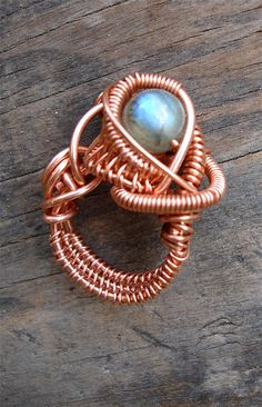 Copper Wrapped // Labradorite  // Wire Ring by Magickwrapper, $54.00