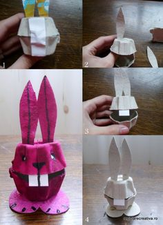 Egg carton rabbit: I've found SO many crafty uses for egg cartons: flowers, etc..But mostly KID oriented (trucks,owls, bugs) I shall soon aim to build the cheapest lil village w ALL of them! °§£¤°