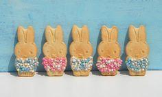 Geboorte Nijntjes. Nodig: Nijntje (dreumes) koekjes. Glazuur/chocola, Ruijter Muisjes roze/blauw, Lintje roze/blauw, Foliezakjes. Werkwijze: Pak de nijntjes koekjes uit. Verwarm/smelt de glazuur/chocola. Besmeer het t-shirt van Nijntje met de glazuur/chocola en strooi hier muisje over. Bindt om het nekje van Nijntje een blauw of roze lintje. Verpak de Nijntjes in foliezakjes met een lintje, evt. kaartje.