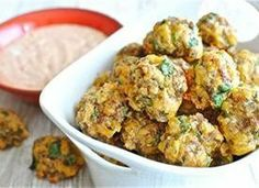 Scallion and Cilantro Sausage Balls with Chipotle Lime Dipping Sauce