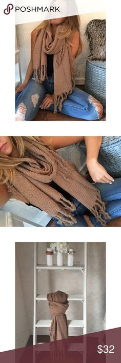 {{New}} Fringed out scarf O m g; the new fringed out scarf is oversized && super unique with its braided tassels! It is long && wide, a perfect statement accessory needed in your wardrobe. This is a timeless piece and SO adorable on, you'll fall in love the second you put it on !   •Camel color •100% Acrylic//NOT itchy  •OS/Price is firm Accessories Scarves & Wraps