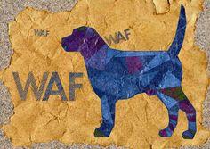 Dierenkaarten - Waf waf Blauwe hond strand zand