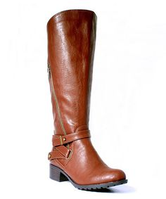 Intaglia Cognac Astoria Extra Wide Calf Riding Boot | zulily