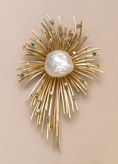 A group of retro fourteen karat gold and gem-set jewelry,
