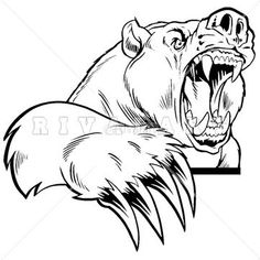 Mascot Clipart Image of Vicious Bear With Large Claws