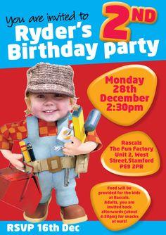 Bob The Builder 2nd Birthday Invite
