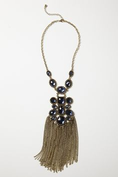 just ordered lovely with chain fringe sapphire colored stones