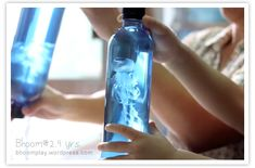 jellyfish in a bottle--with clear plastic bag cut and tied in a water bottle