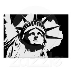 Lady Liberty black and white vector art Poster