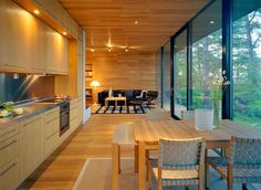 House, Modern Cabin Floor Plans For Contemporary Kitchen Decor Ideas With Large Glass Windows: The Simple Impression of Modern Cabin Plans Style Cottage, Rustic Cottage, Cottage Design, Coastal Cottage, Coastal Homes, Cottage Homes, Modern Cottage, Sweden House, Cabin Floor Plans