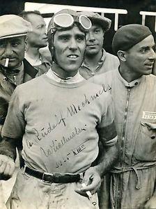 Tazio Nuvolari FORMULA 1 autograph signed vintage photo