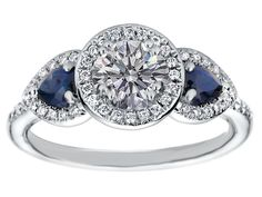 Halo Engagement Ring Pear Shape Blue Sapphire Side Stones in 14K White Gold