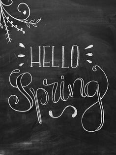 Hello Spring - lettering - easter - spring - spring art - chalkboard - chalkart -chalk lettering - t Chalkboard Art Quotes, Chalkboard Decor, Chalkboard Drawings, Chalkboard Designs, Chalkboard Typography, Chalk Writing, Chalkboard Writing, Kitchen Chalkboard, Chalk Lettering
