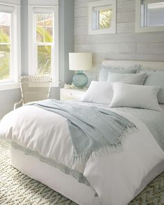 Linen bedding keeps you cool in the summer and gets softer and softer the more you wash it. Pair this Sky Linen Quilt from Pine Cone Hill with a classic white comforter and sheets and you'll feel like your sleeping on a cloud! decor ideas for women Master Bedroom Design, Modern Bedroom, Master Suite, Contemporary Bedroom, Bedroom Designs, Bedroom Small, Bedroom Classic, Minimalist Bedroom, Bedroom Rustic