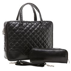 14.1 inch Classic All Black Professional Diamond Quilted Pattern Bubble Foam Padded Laptop Computer Notebook Sleeve Office Tote Briefcase Carry Case Messenger Shoulder Bag MyGift,http://www.amazon.com/dp/B00AFDPF9I/ref=cm_sw_r_pi_dp_aYNvtb19VHX312KP